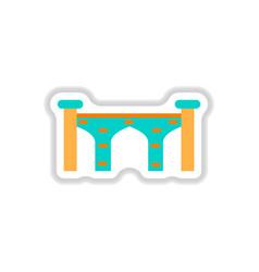 In paper sticker style brick vector