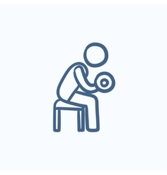 Man exercising with dumbbells sketch icon vector image vector image
