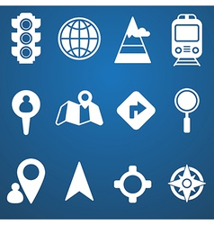 Map and location icons set white vector image