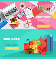 online shopping horizontal banners vector image