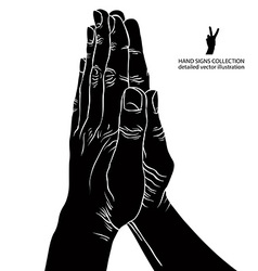 Praying hands detailed black and white vector image