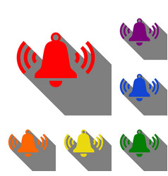 Ringing bell icon set of red orange yellow vector