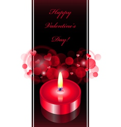 romantic background with red candle vector image