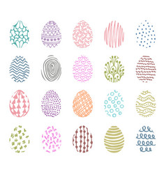Set of 20 hand drawn ink eggs for easter greeting vector