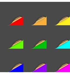 Set of curled colorful paper square sheets vector