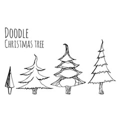 set of hand-drawn doodle christmas trees for your vector image vector image
