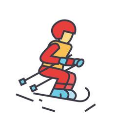skier sky snow mountain winter action concept vector image