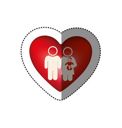 Sticker of white background pictogram with heart vector