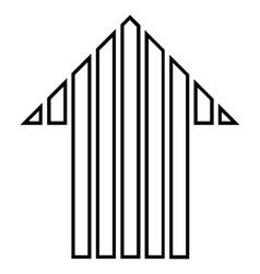 Stripe arrow up contour icon vector
