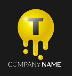 t letter splash logo yellow dots and bubbles vector image vector image