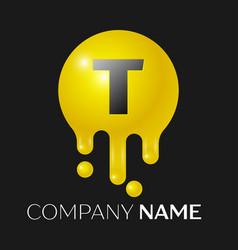 T letter splash logo yellow dots and bubbles vector