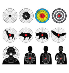 Targets for shooting with silhouette man and vector