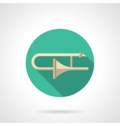 Trombone round flat color icon vector image
