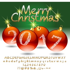 Luxury merry christmas 2017 greeting card vector