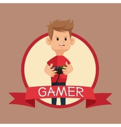 Gamer red tshirt control banner brown backgroung vector