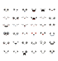 Set of cute lovely kawaii emoticon vector