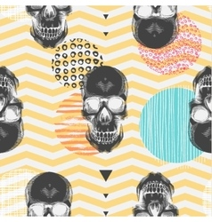 Kitschy seamless pattern with sugar skulls vector