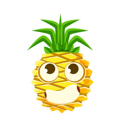 Bewildered pineapple face with big eyes cute vector