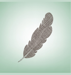 Feather sign   brown flax icon vector