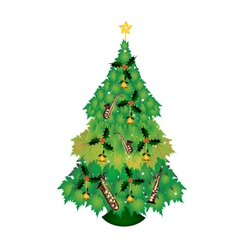 Christmas tree of green maple leaves with ornament vector