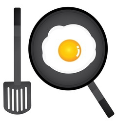 Fried egg in a pan and spatula vector