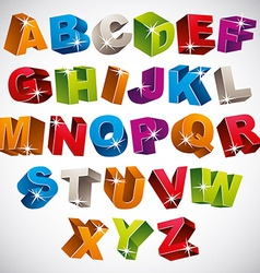 3D font bold colorful alphabet vector image