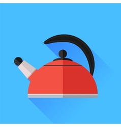 Red kettle icon vector