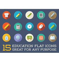 Set of Education Flat Icons can be used as Logo or vector image