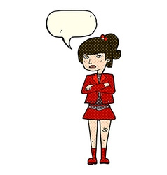 Cartoon cool girl with speech bubble vector