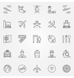 Airport icons set - thin line air travel vector