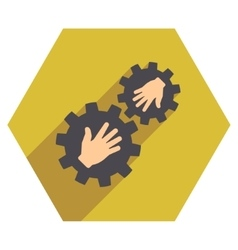 Contact gears flat hexagon icon with long shadow vector