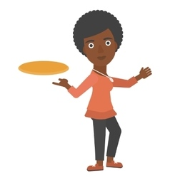 Woman playing flying disc vector