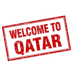 Qatar red square grunge welcome isolated stamp vector