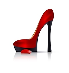 Red shoe and petal vector