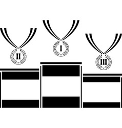 Pedestal with medals vector