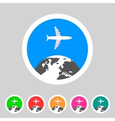 Airplane travel world globe tourism icon vector