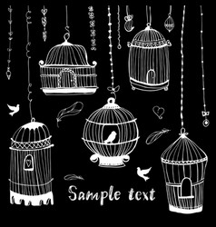 Birdcage printthe bird in the cage vector