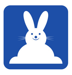 Blue white sign - smiling rabbit front view icon vector