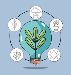 Bulb with plant inside and natural ecology icons vector