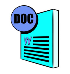 Doc file icon cartoon vector