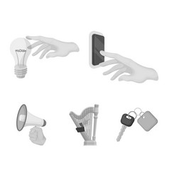 Electric switch button incandescent lamp and vector