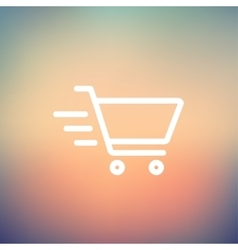 Fast delivery shopping cart thin line icon vector