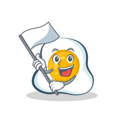 Fried egg character cartoon with flag vector