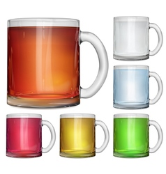 Glass cups with multicolored drinks vector image