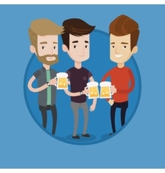Group of friends enjoying beer at pub vector image vector image