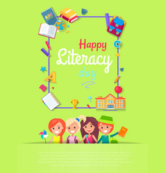 happy literacy day postcard vector image