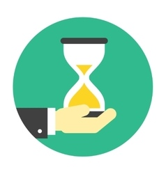 Hourglass on hand icon vector image
