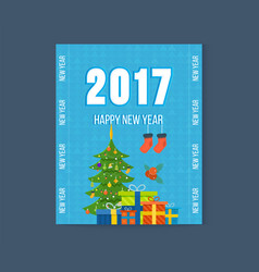 Merry christmas happy new year greetings card vector