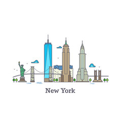 New york line symbol nyc silhouette vector
