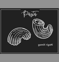 Pasta gamiti rigatti chalk sketch for italian vector